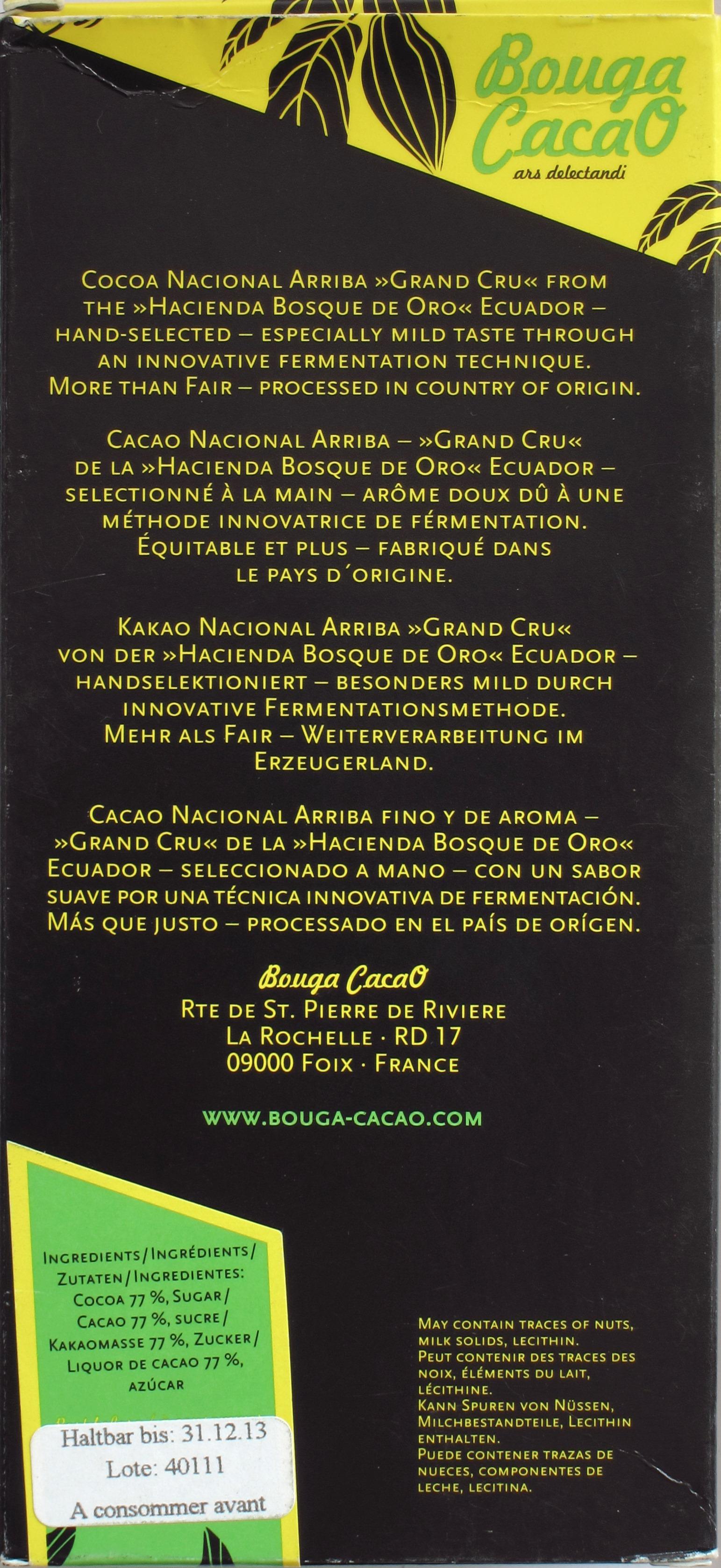 Rückseite, 77%ige Ecuador-Schokolade von Bouga CacaO