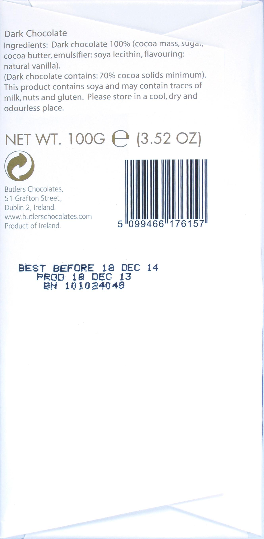 Butlers Bitterschokolade 70%, Rückseite