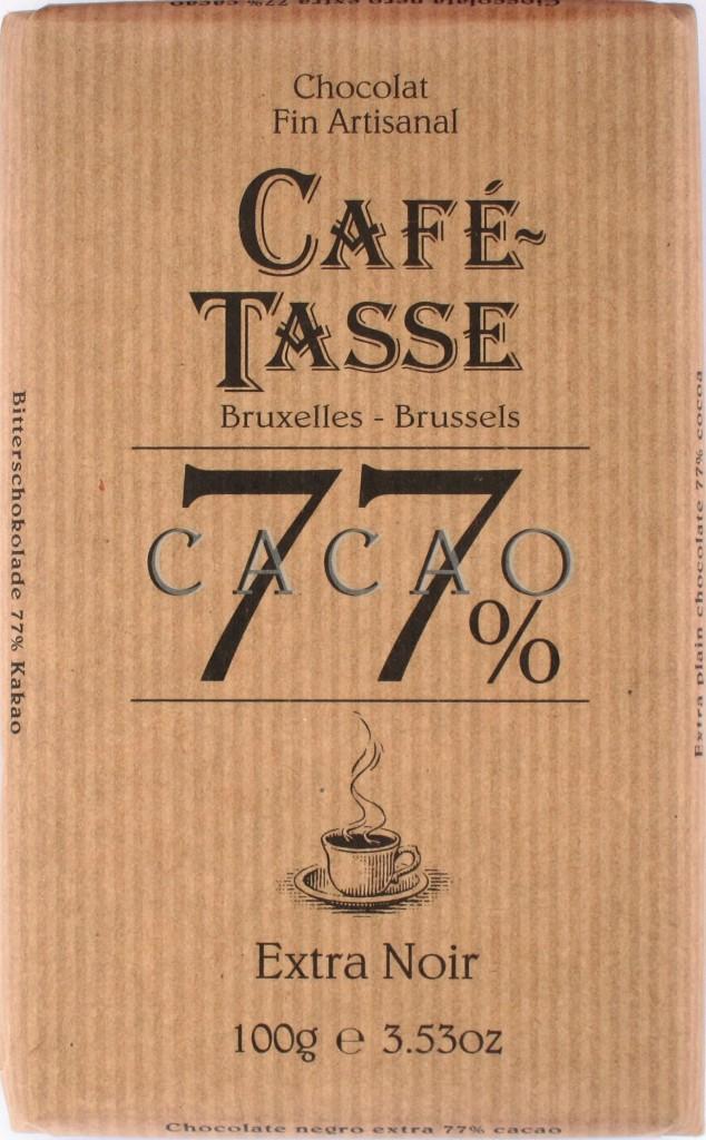 Café-Tasse 77% Bitterschokolade, Rückseite