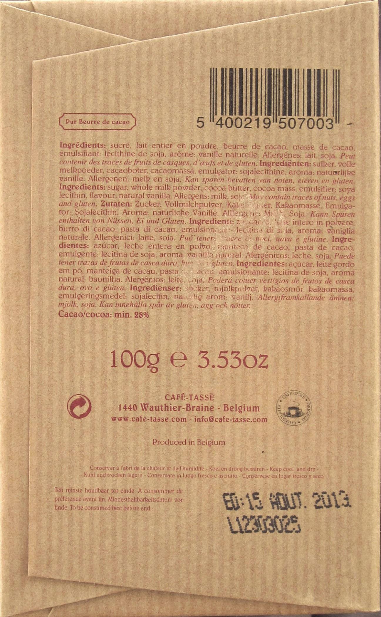 Milchschokoladentafel Café-Tasse Lait 28%, Rückseite