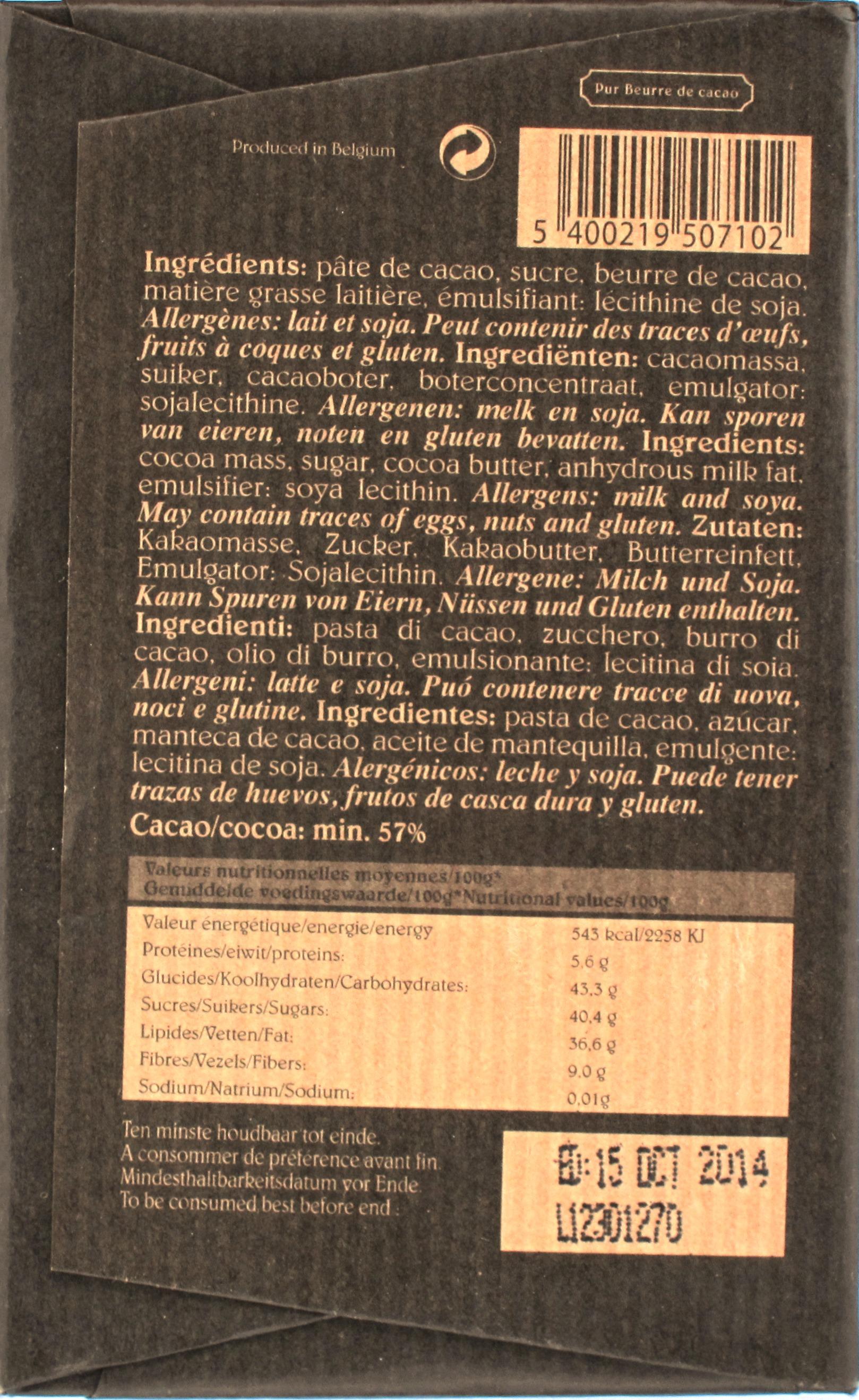 """Rückseite: Belgische Bitterschokolade Café-Tasse """"Noir"""" (57%)"""