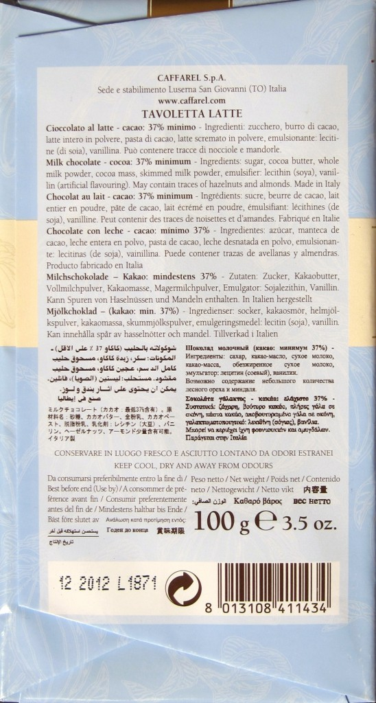 Verpackungsrückseite der Caffarel Puro Cioccolato Latte Milchschokolade