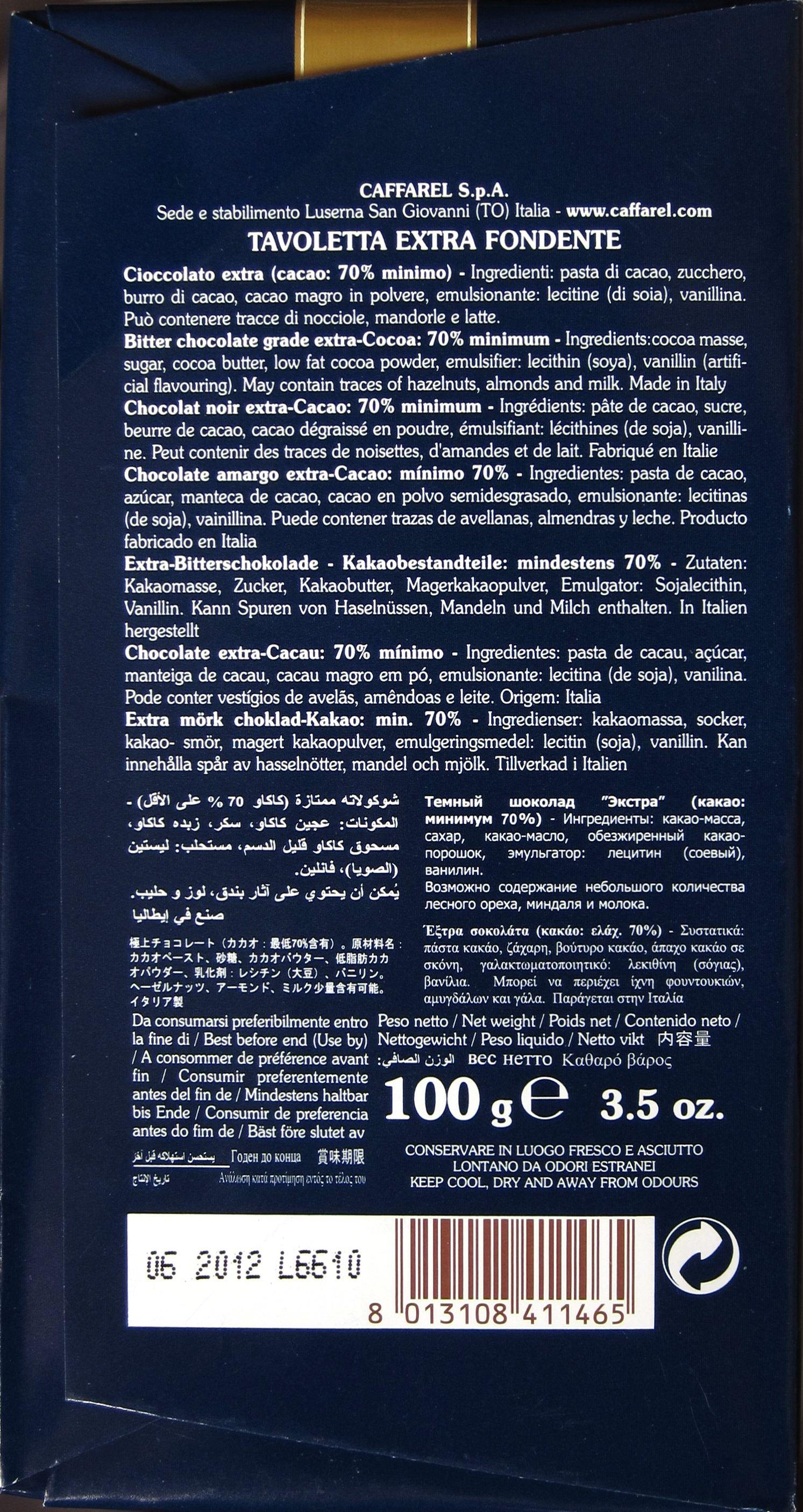 Caffarel Puro Cioccolat Extra-Fondente Cacao 70% - Ingredienzien