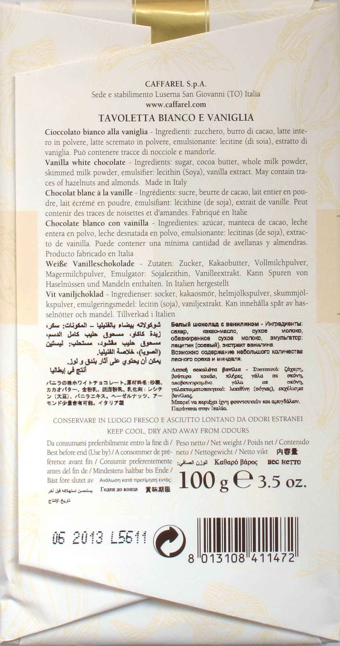 Caffarel Weiße Schokolade (Inhaltsangaben)