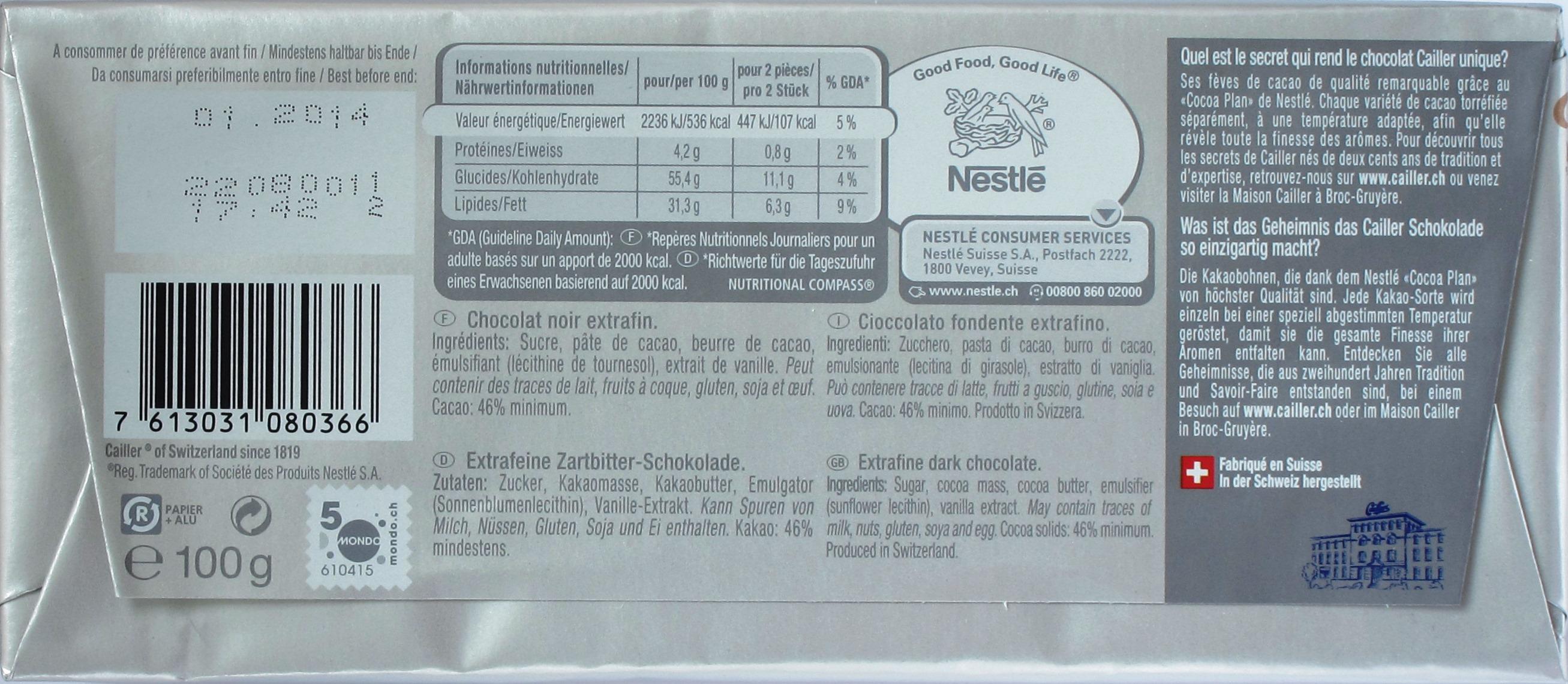 Cailler-Zartbitterschokolade, Rückseite