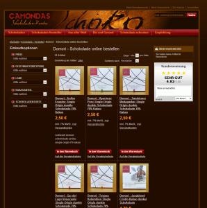 Camondas - Online Schokolade bestellen Screenshot
