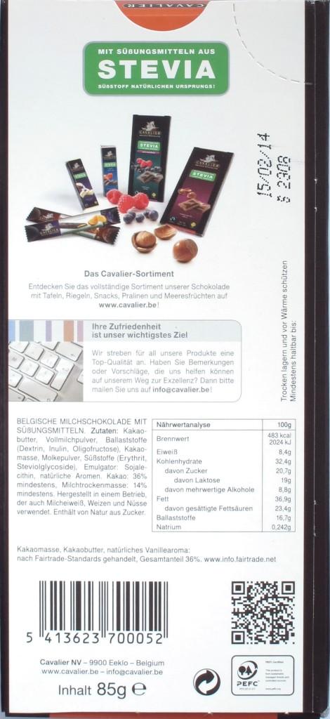 Cavalier Milchschokolade zuckerfrei, Rückseite