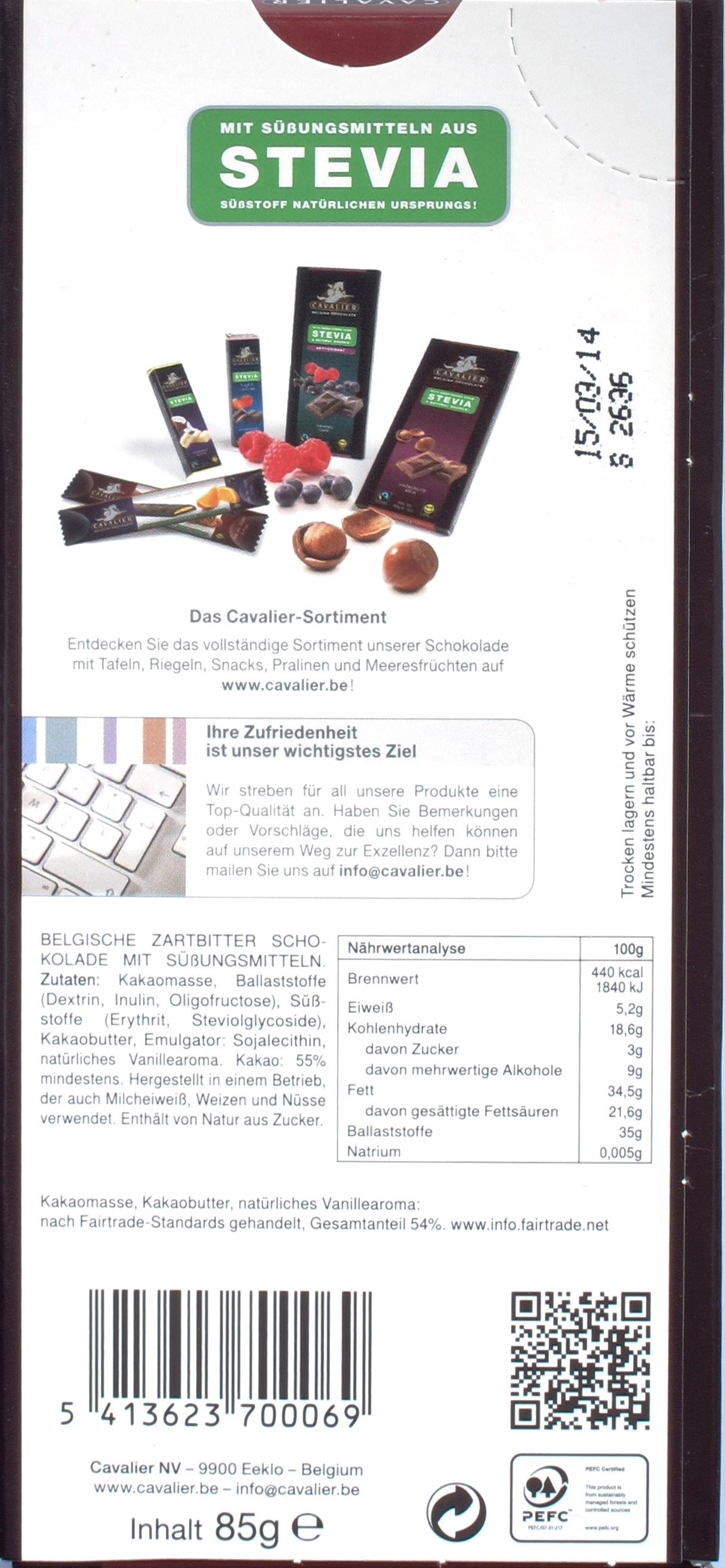 Cavalier Stevia-Schokolade Zartbitter, Rückseite