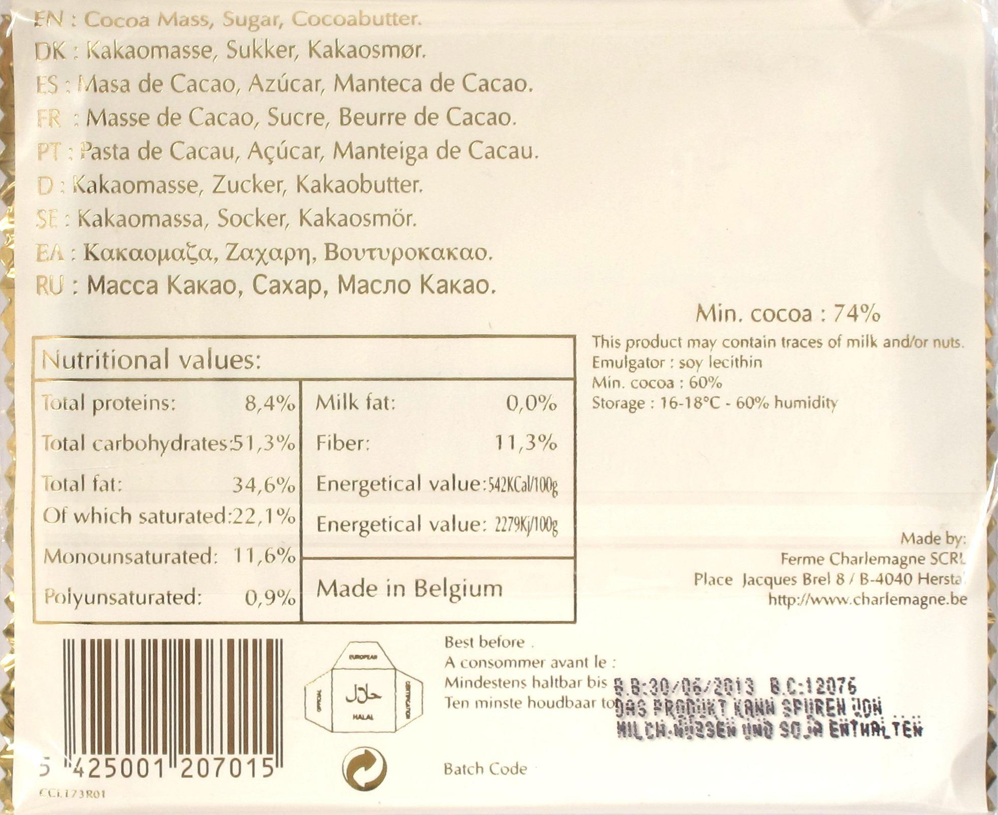 Packungsrückseite Scharlemagne Schokolade Bitter