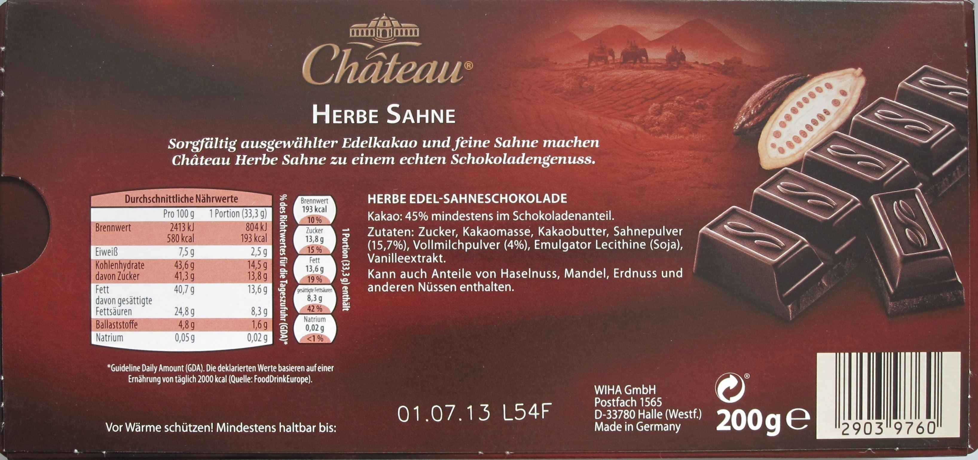 Château/Aldi: Herbe Sahne-Milchschokolade (Inhalt)