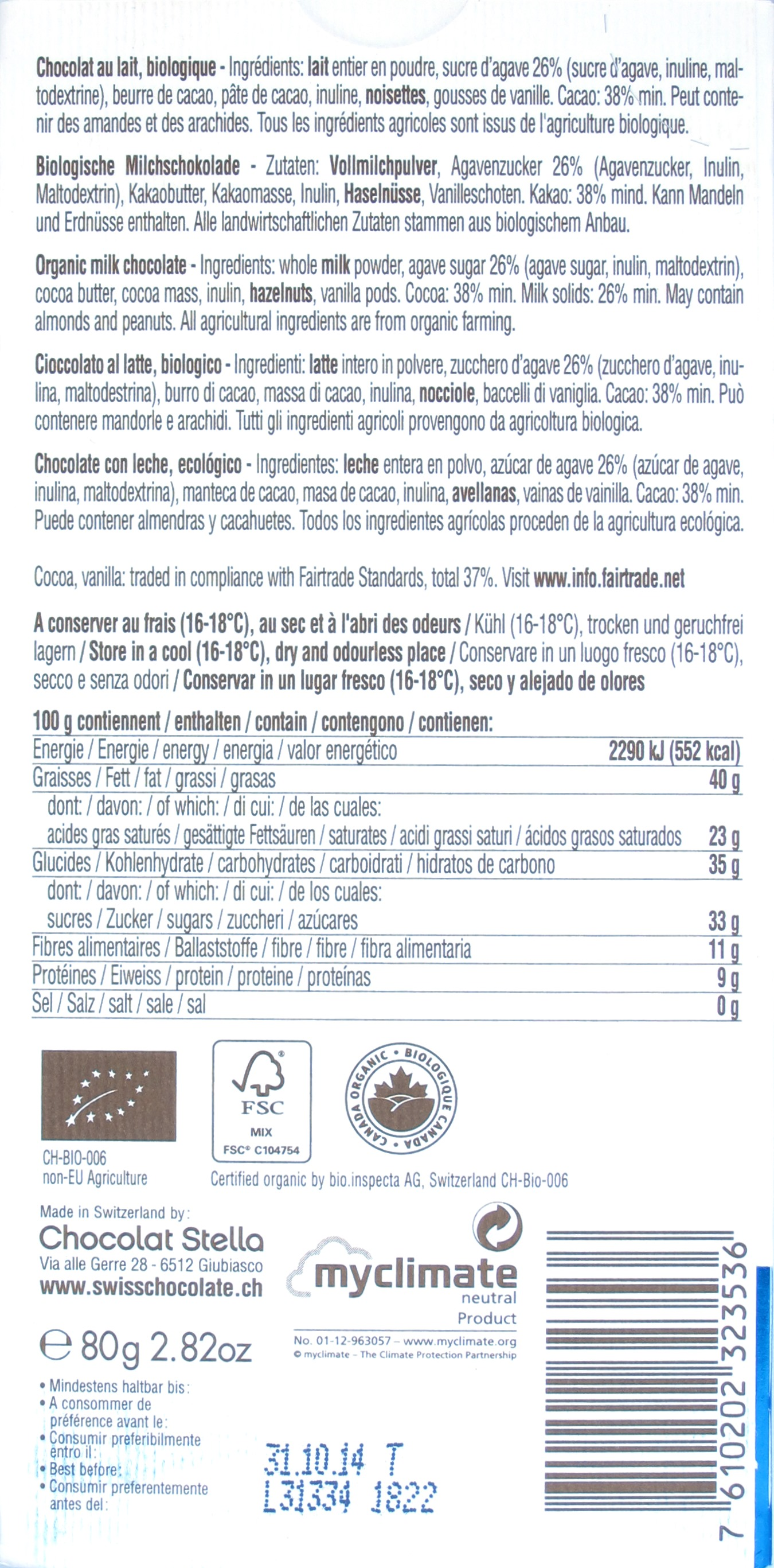 Rückseite der Stella-Milchschokolade mit Agavennektar