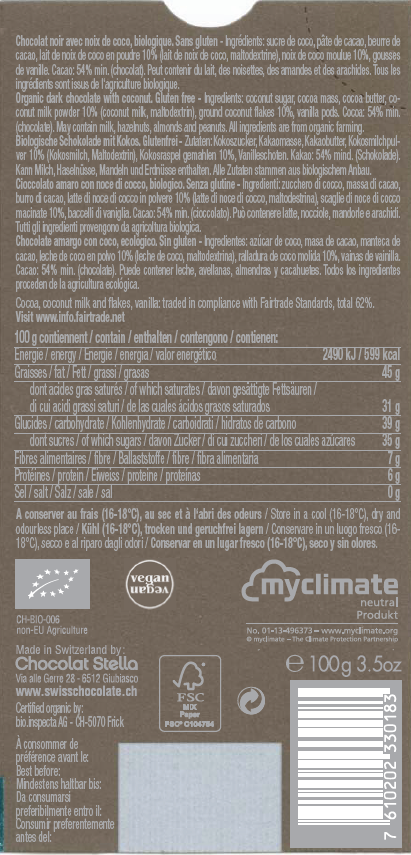 Chocolat Stella Milch-Kokosschokolade 'Nectar de Coco', Rückseite