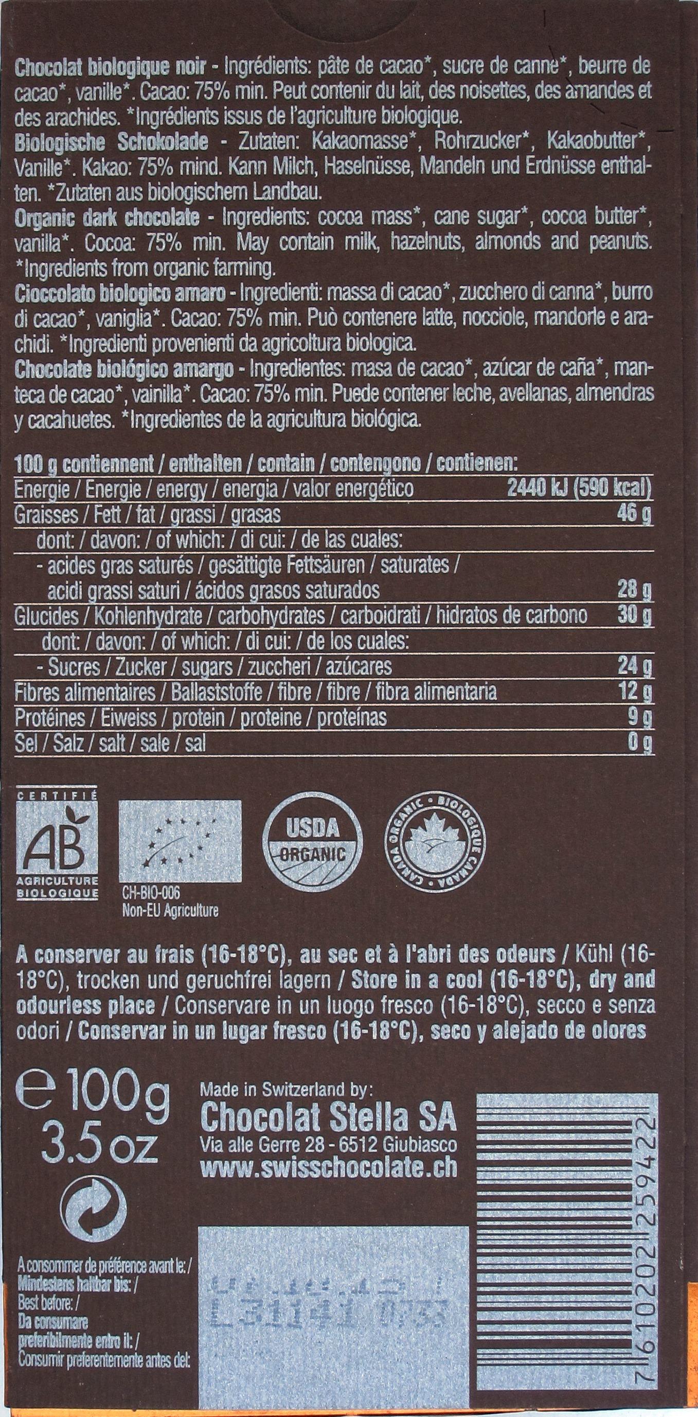 Chocolat Stella Noir 75% Dark, Rückseite