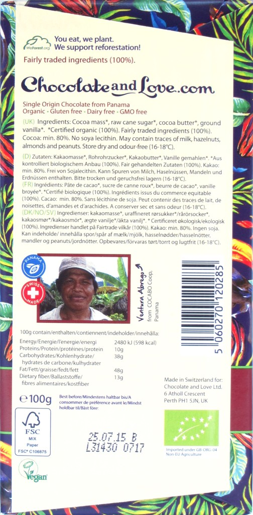 Chocolate and Love 80% Panama-Bitterschokolade, Rückseite