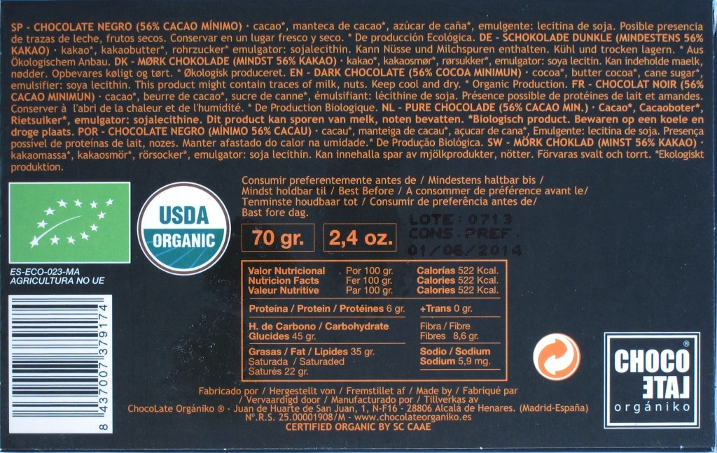 Bitterschokolade ChocoLate Orgániko 56%, Rückseite