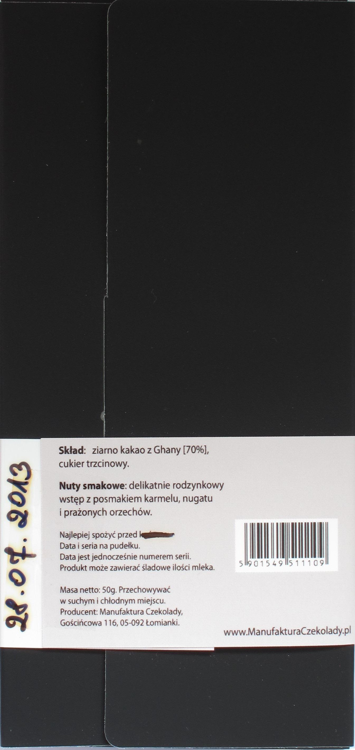 Packungsrückseite, Manufaktura Czekolady, 70% Ghana