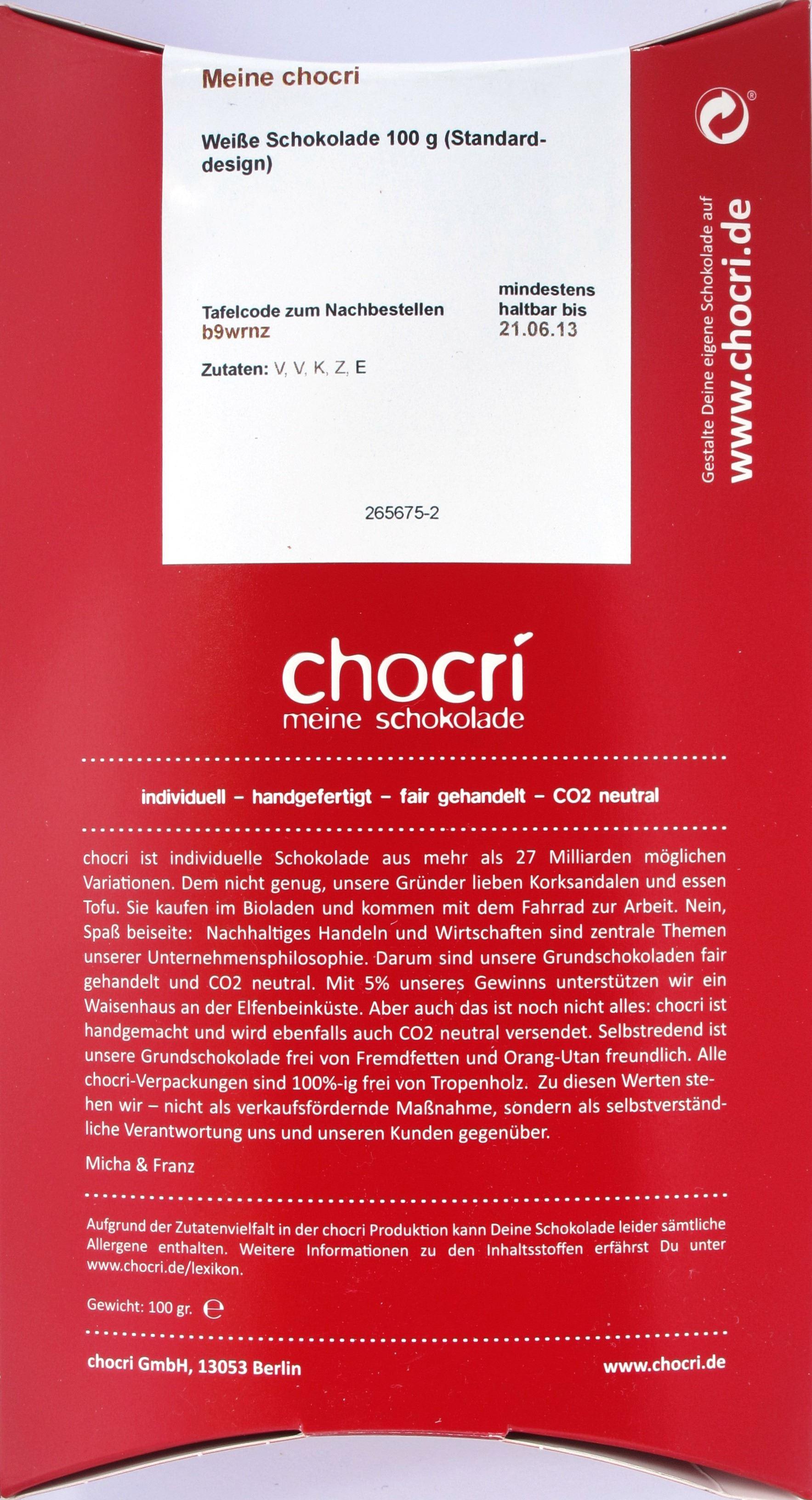 Chocri: individualisierbare weiße Schokolade (Box-Rückseite)