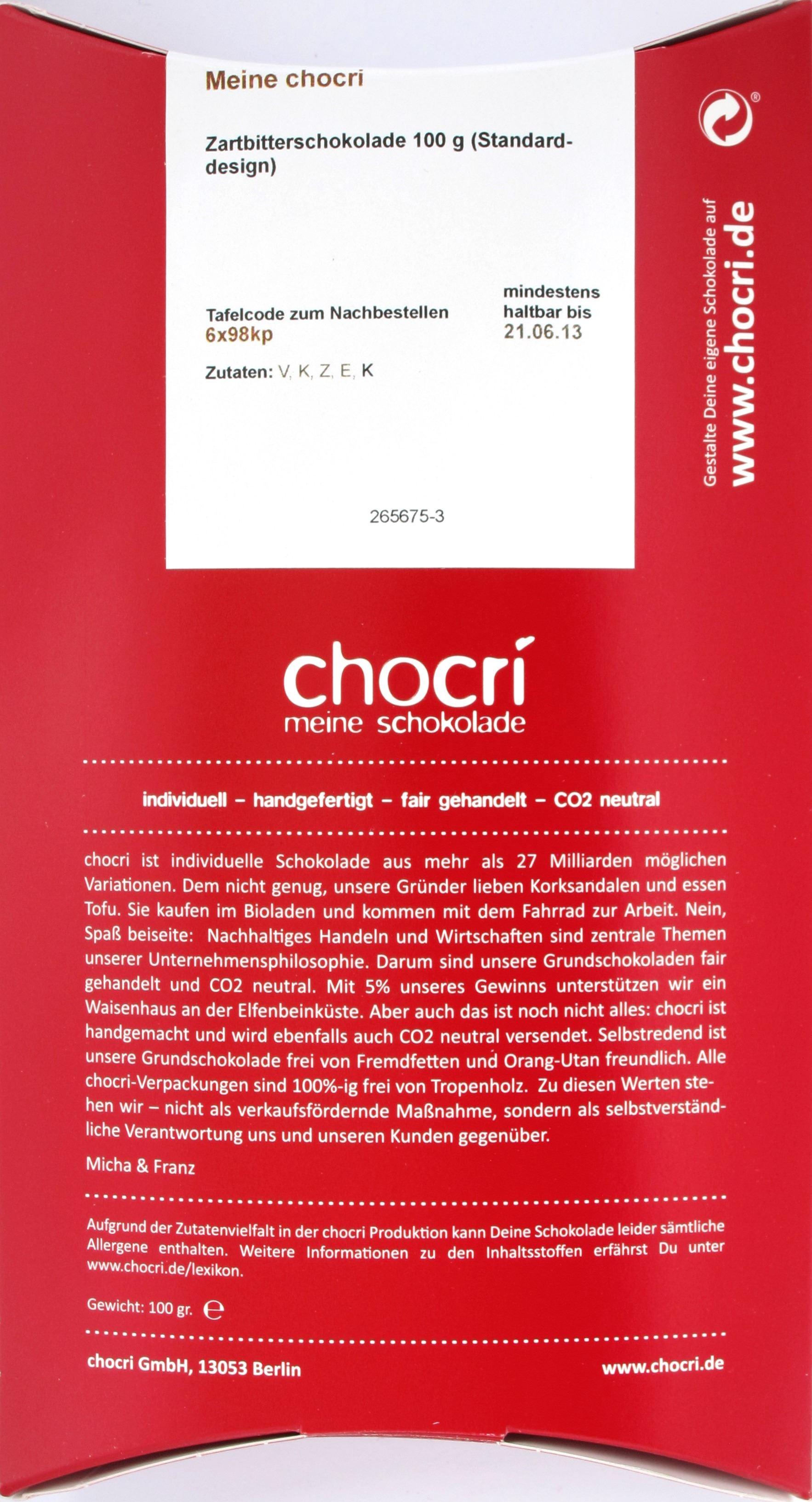 Chocri Zartbitterschokolade, Rückseite