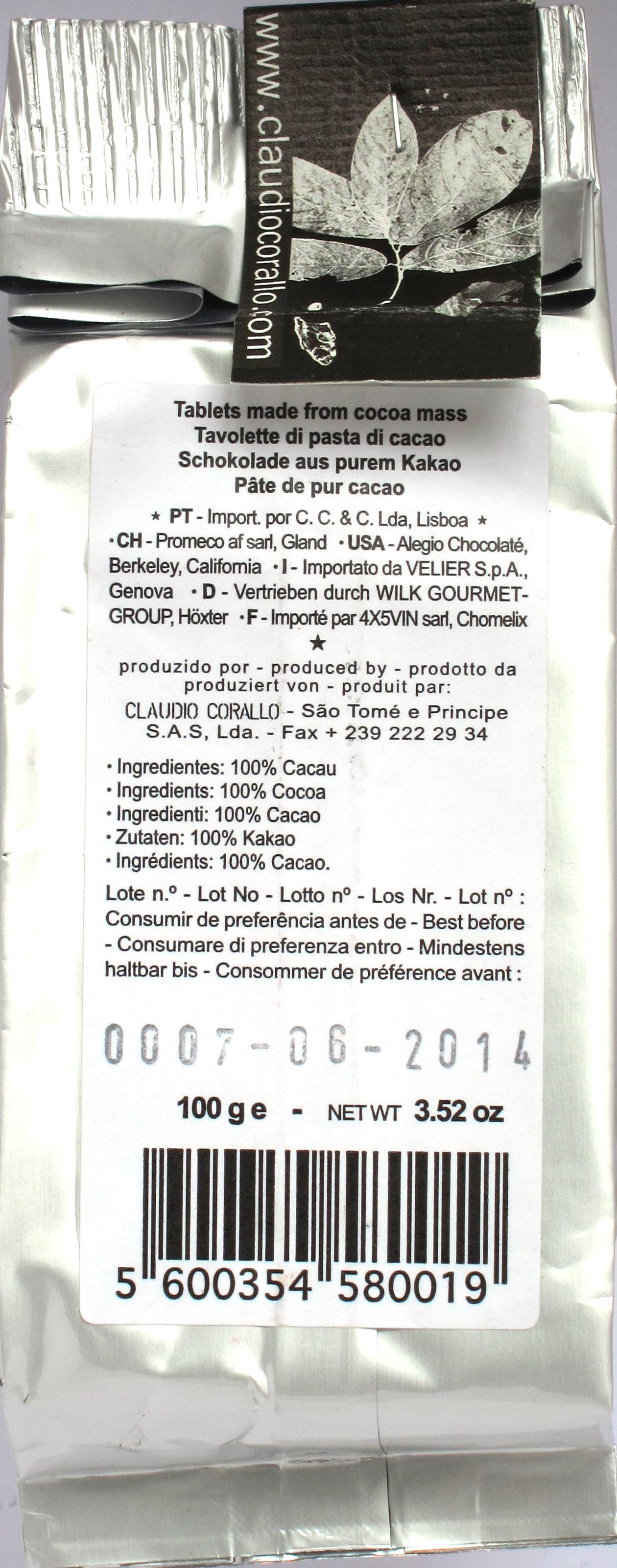 Corallo, 100%-Schokolade, Rückseite