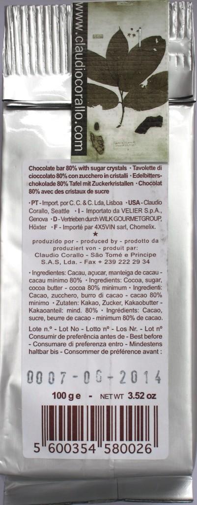 Claudio Corallo Bitterschokolade 80% mit Zuckerstückchen, Rückseite