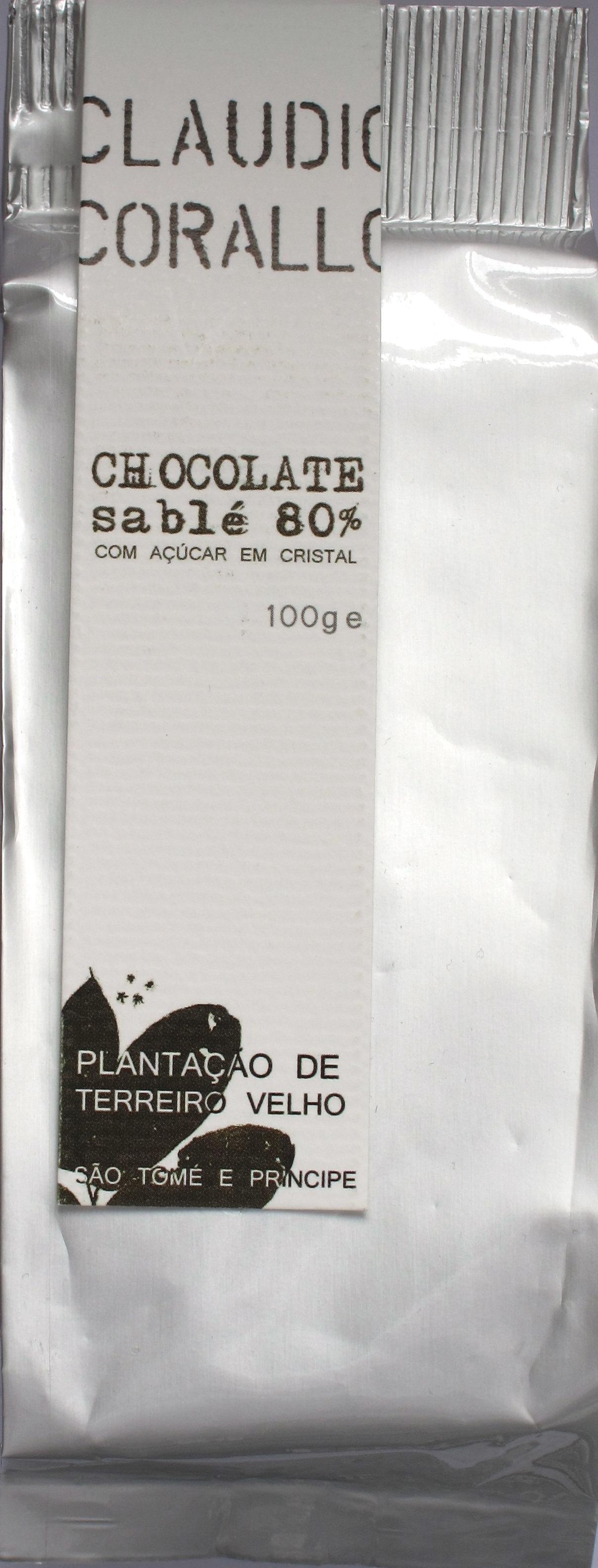 Claudio Corallo Bitterschokolade 80% mit Zuckerstückchen