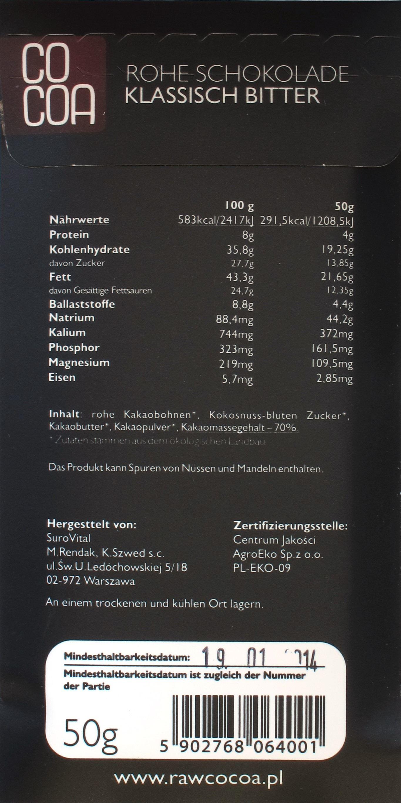 """Cocoa-Schokoladentafel """"klassisch bitter"""", Rückseite und Inhaltsangaben"""
