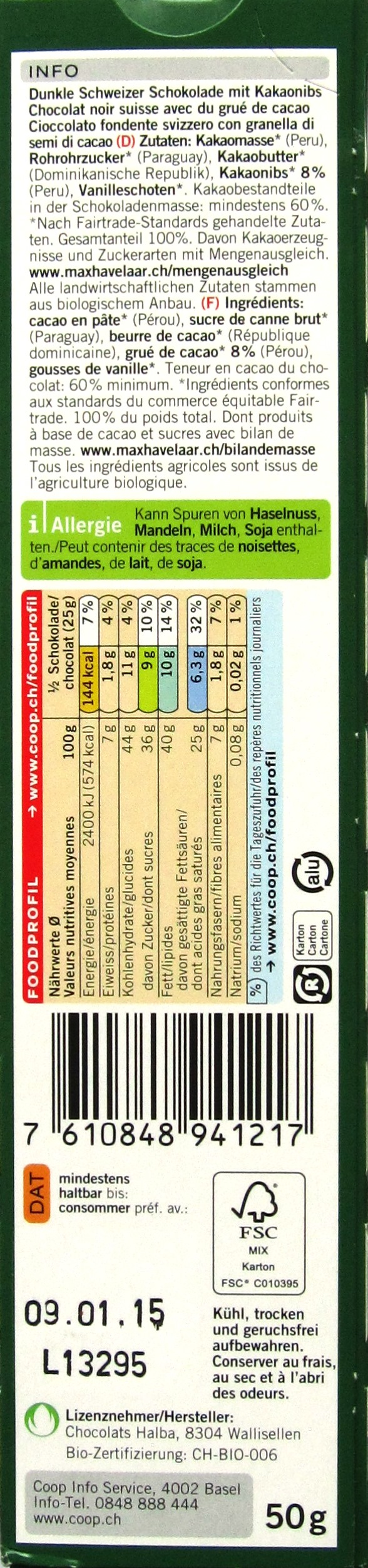 Inhalt: Coop Naturaplan Bio Dunkle Schokolade 60%