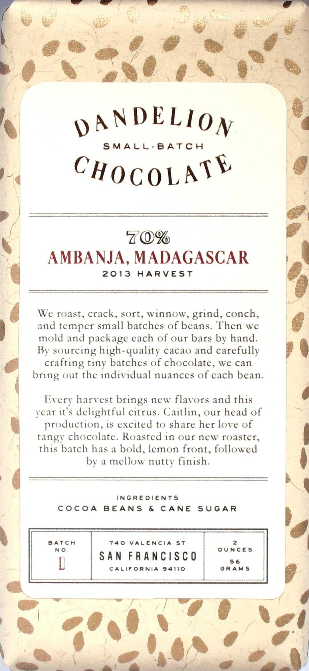 Dandelion Chocolate: Ambanja Madagascar, 70%-Schokolade, 2013