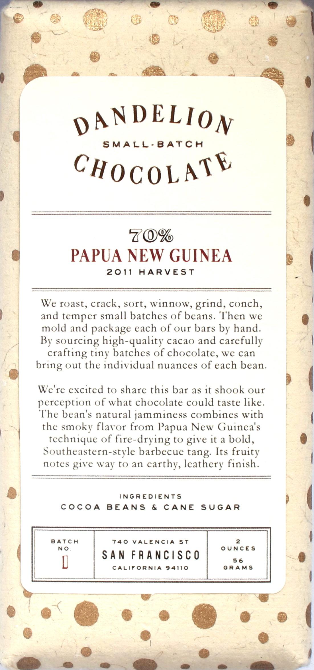 "Dandelion Chocolate ""Papua New Guinea"" 2011, Vorderseite"