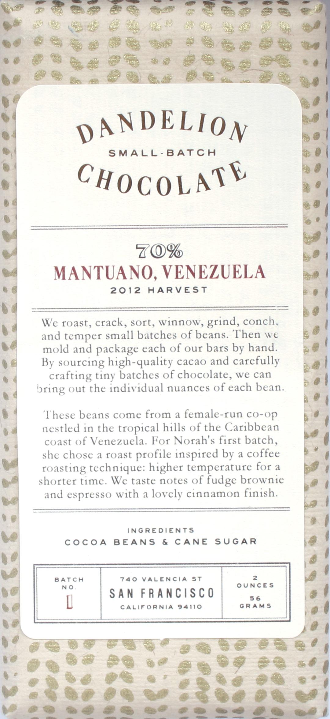 """Dandelion-Bitterschokolade """"Mantuano"""""""