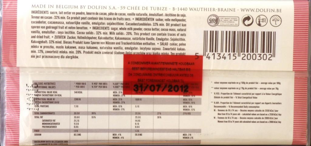 Packung Dolfin Chocolat au Lait - Rückseite