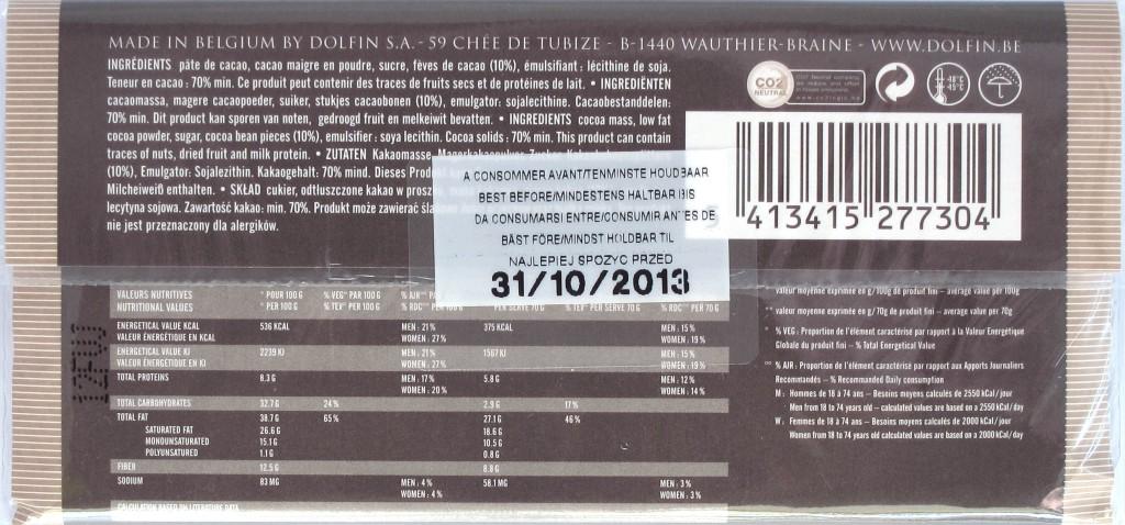 Schokolade Dolfin Noir 70% - Packungsrückseite