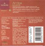 Domori Ecuador-Schokolade Arriba, Rückseite