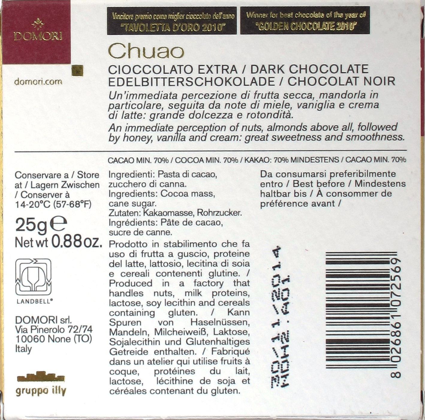 """Domori Bitterschokolade 70% """"Chuao"""", Rückseite"""