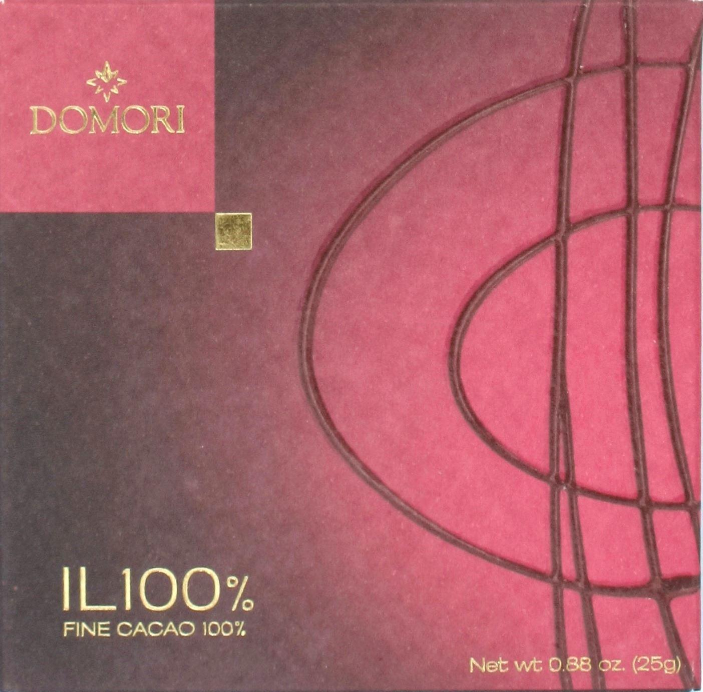 """Dunkle Domori-Schokoladenpackung """"il 100%"""""""