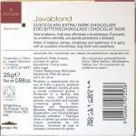Domori 70%-Java-Schokolade, Rückseite
