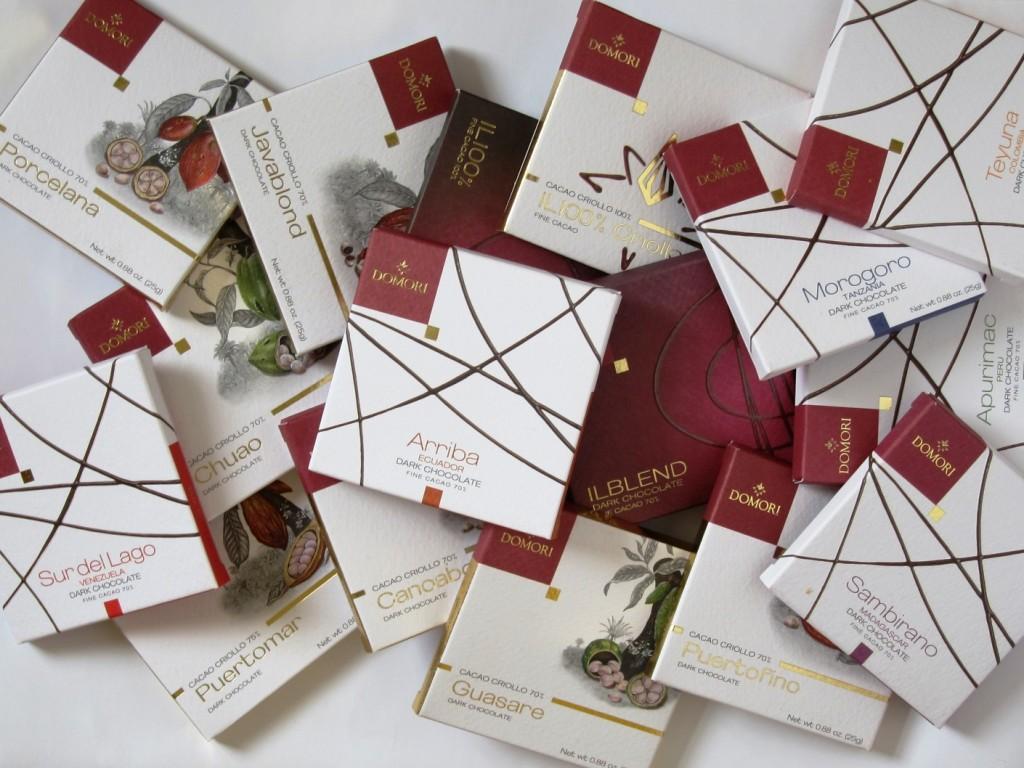 Stapel Domori-Schokoladen