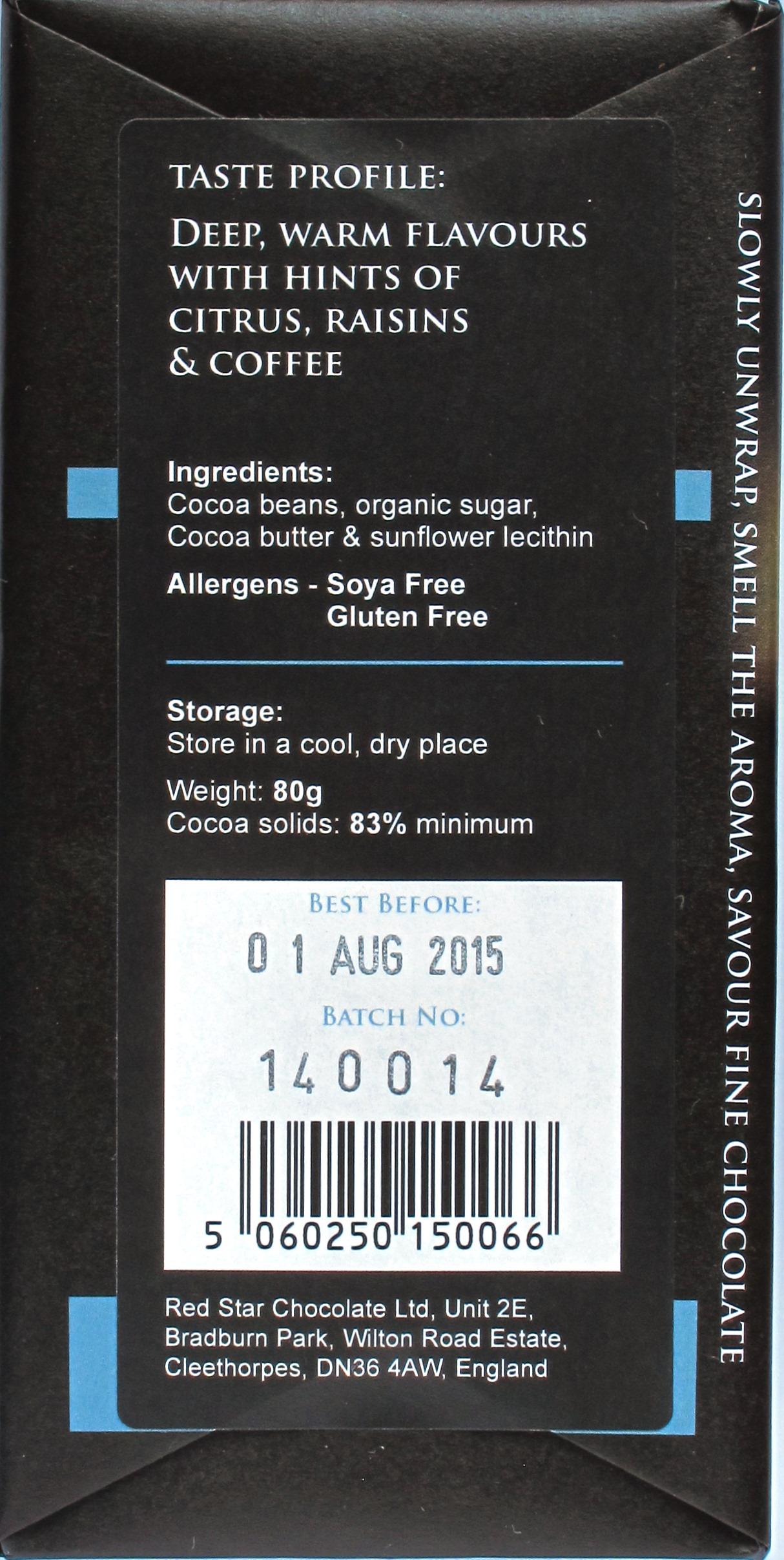 Duffy's Bitterschokolade 83% Ecuador - Rückseite