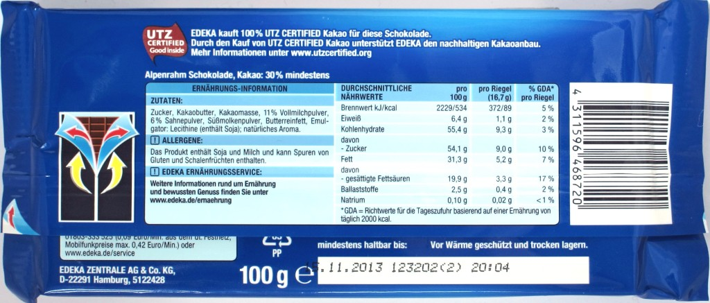Rückseite: Gut & Günstig Milchschokolade 30%