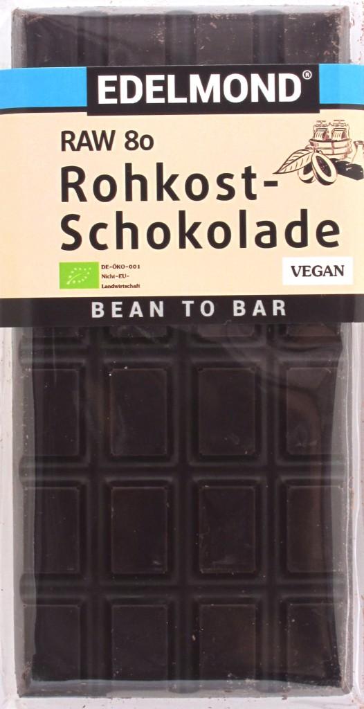 Edelmond-Bitterschokolade 80% Raw - Vorderseite