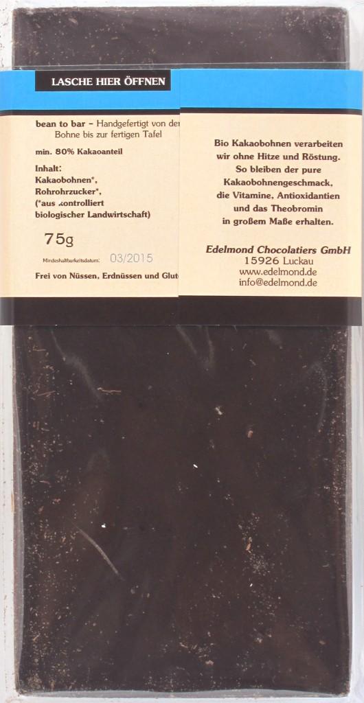 Edelmond-Bitterschokolade 80% Raw - Inhaltsangaben
