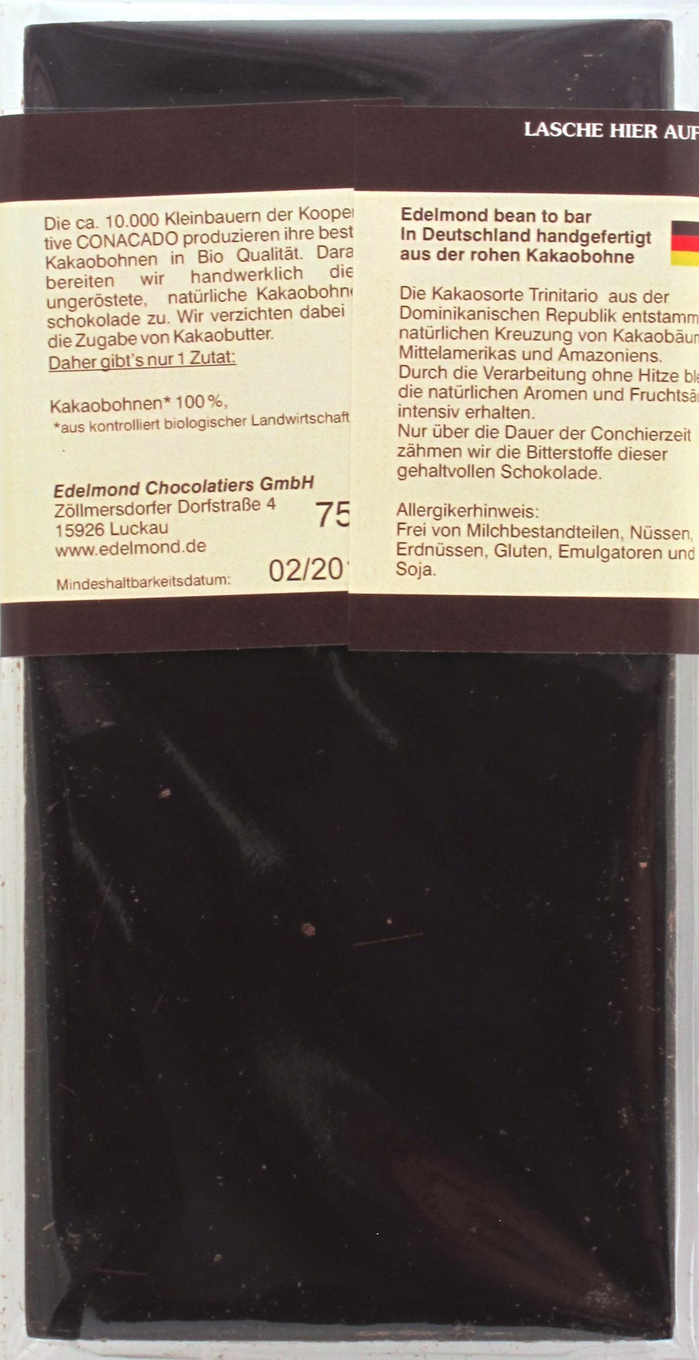 Edelmond 100% Trinitario Raw Chocolate, Dominikanische Republik: Rückseite