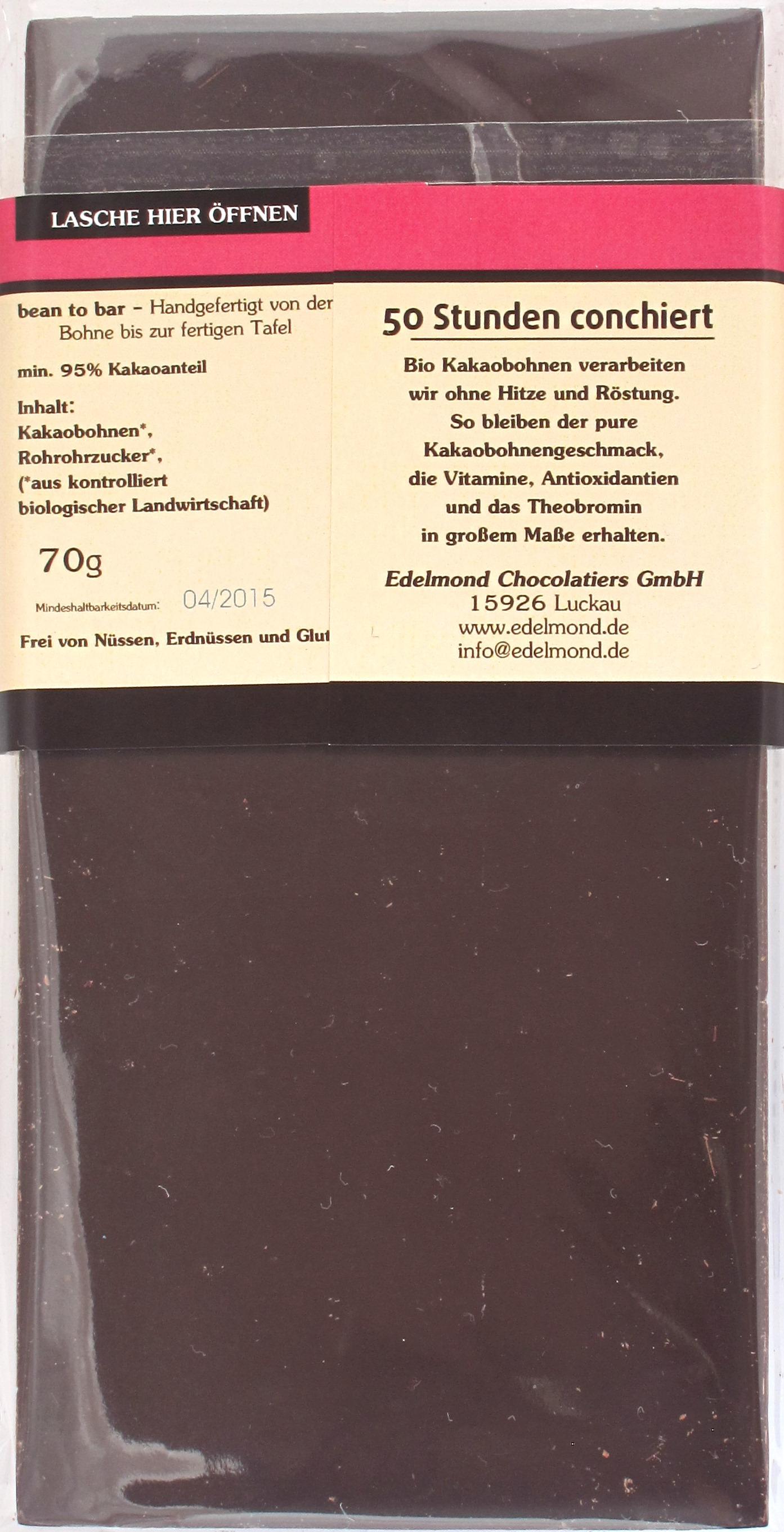 Edelmond 'RAW 95' Bitterschokolade, Inhaltsangabe