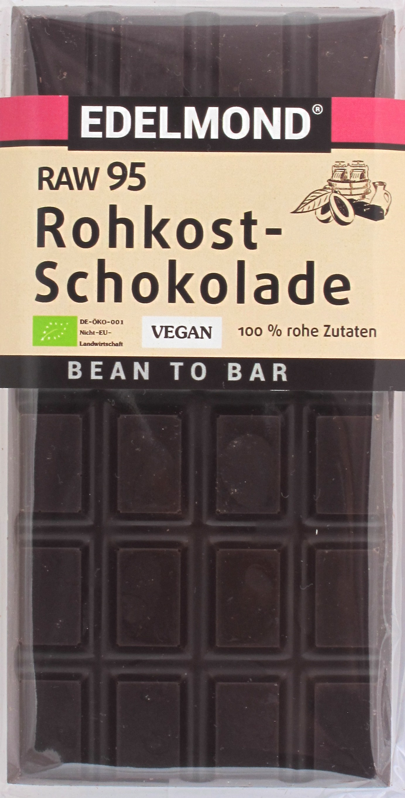 Edelmond 'RAW 95' Bitterschokolade, Cover