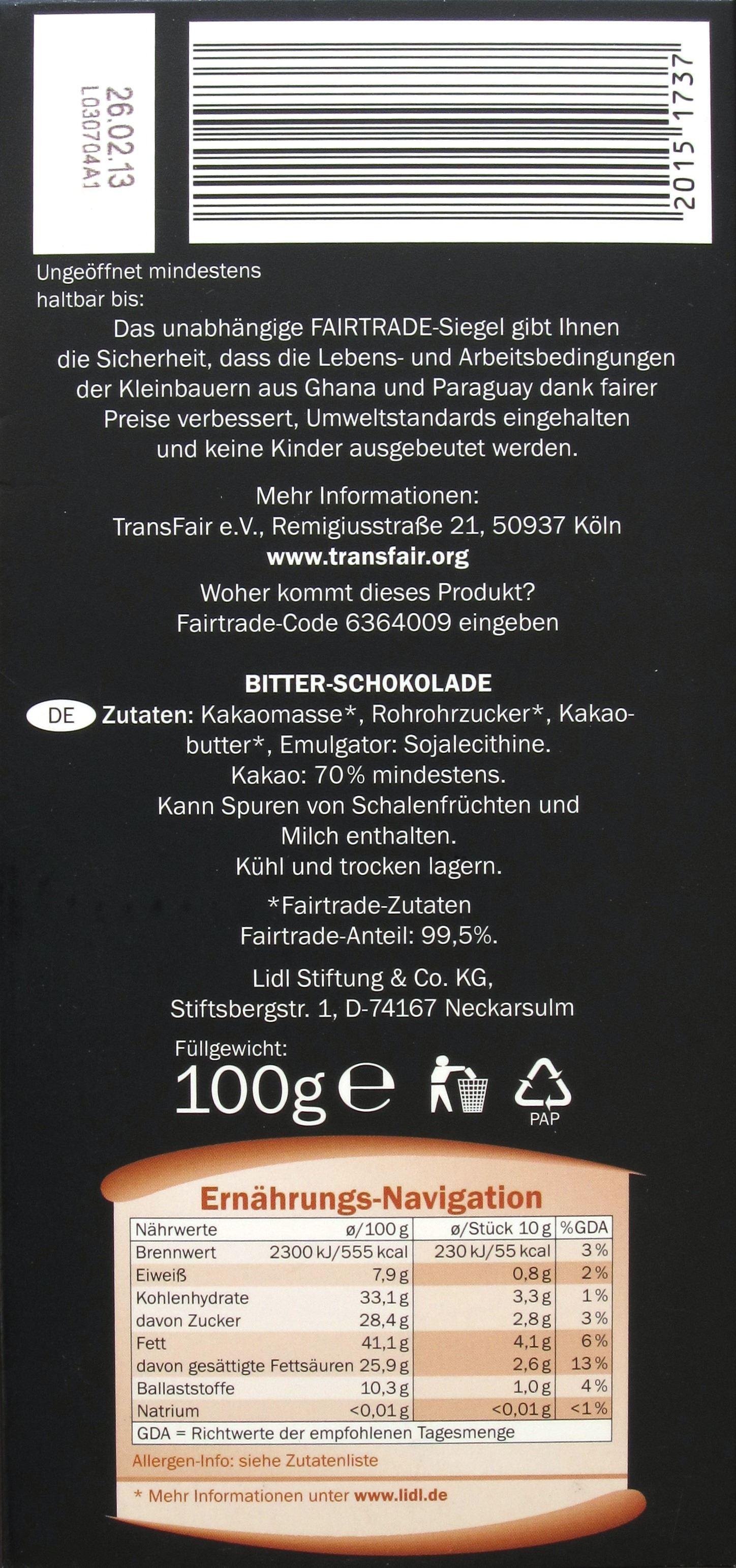 LIDLs Fairglobe Dunkle Schokolade, 70% (Rückseite)