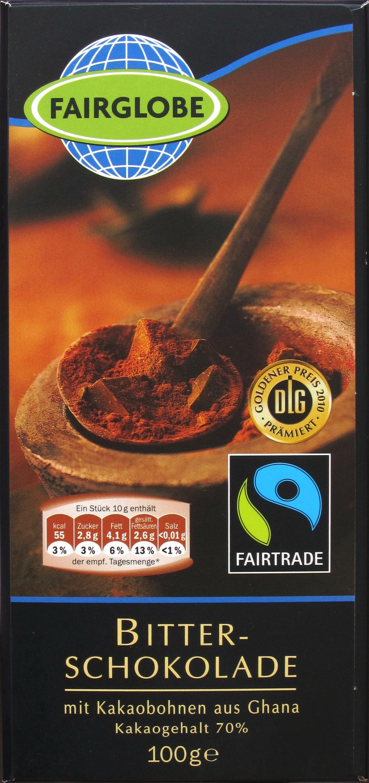 LIDLs Fairglobe Dunkle Schokolade, 70% (Vorderseite)