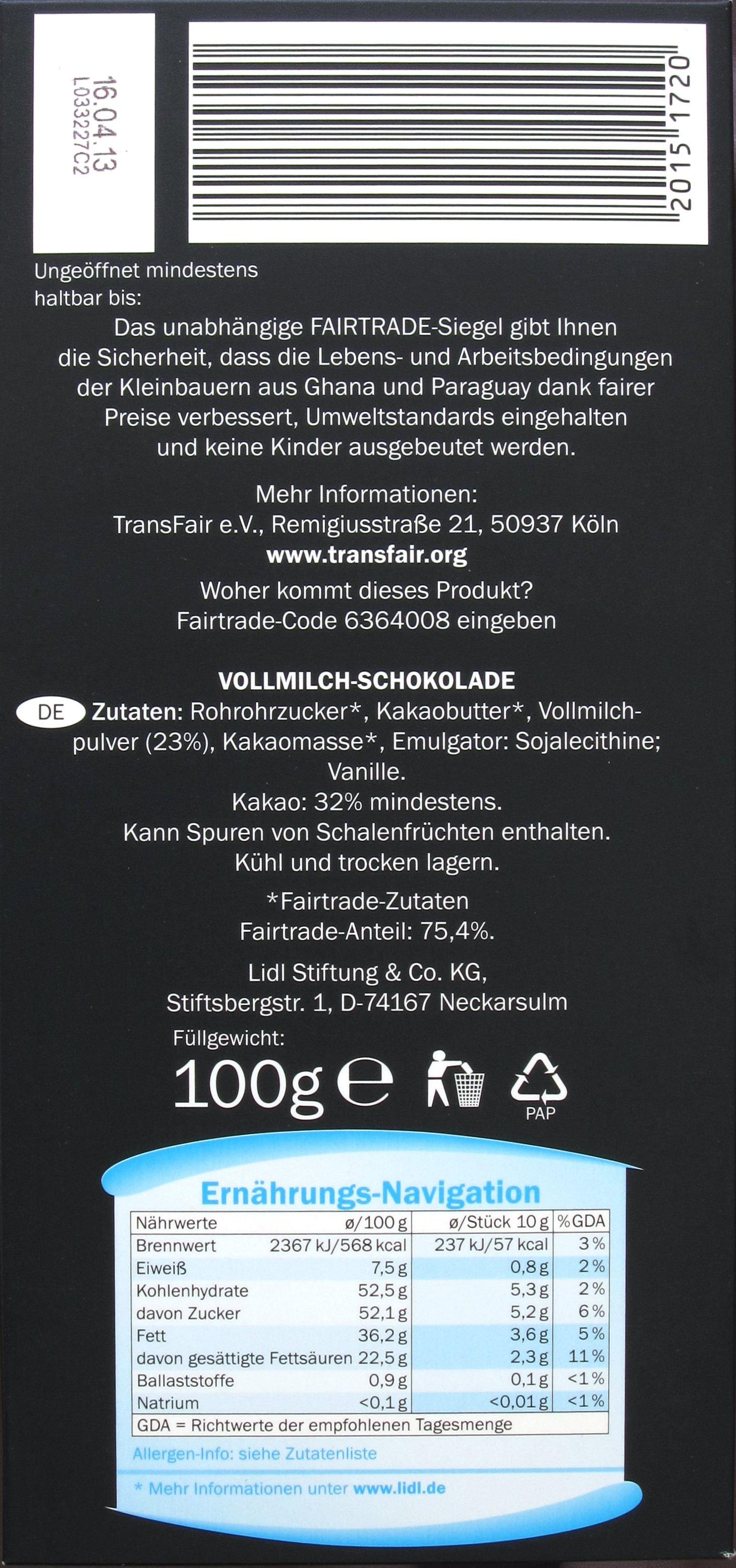 LIDL Fairtrade-Schokolade - Packungsrückseite