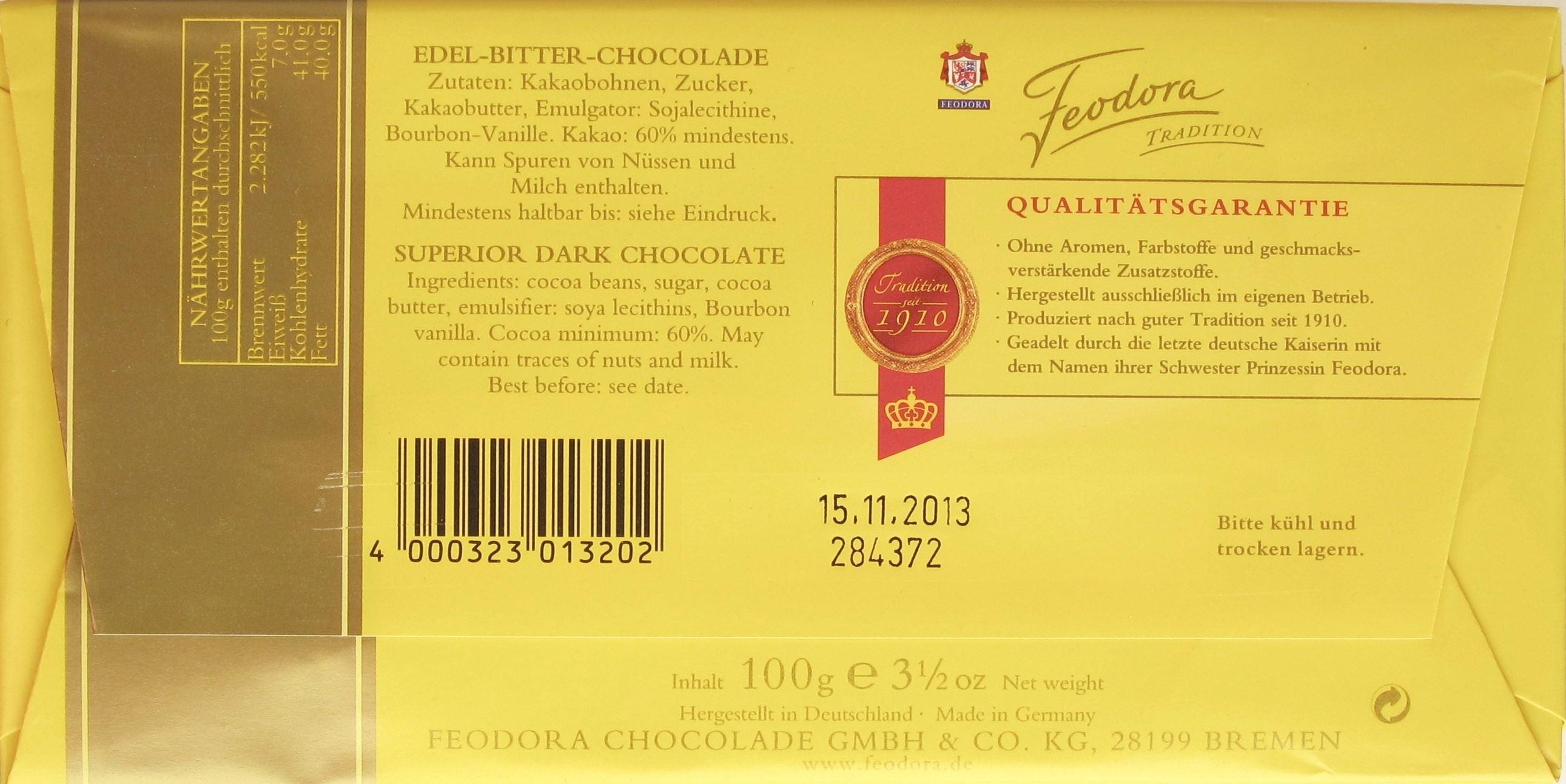 Feodora Tradition Edel-Bitter-Chocolade - Inhaltsangaben