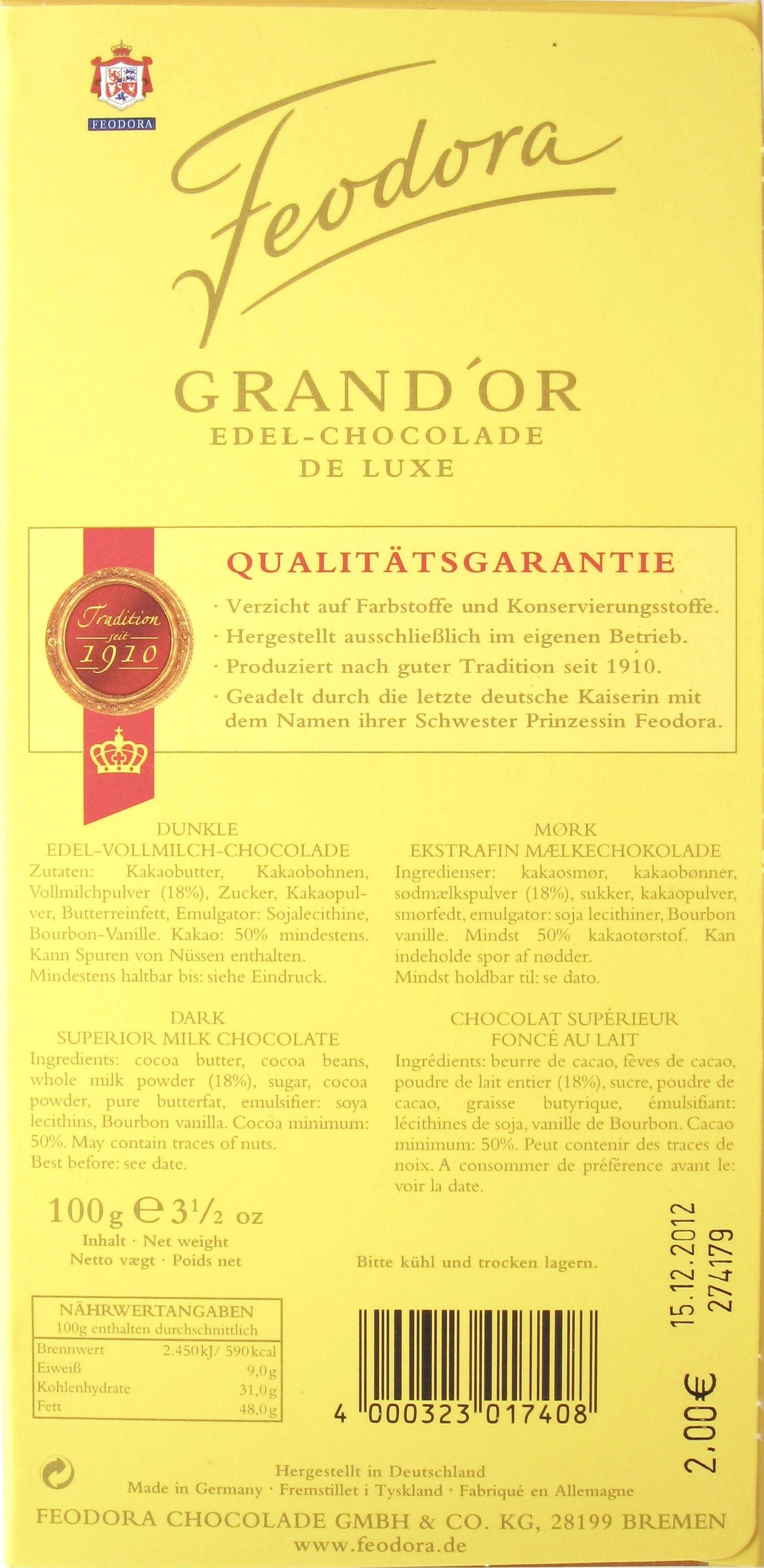 Feodora Dunkle Milchschokolade: Rückseite