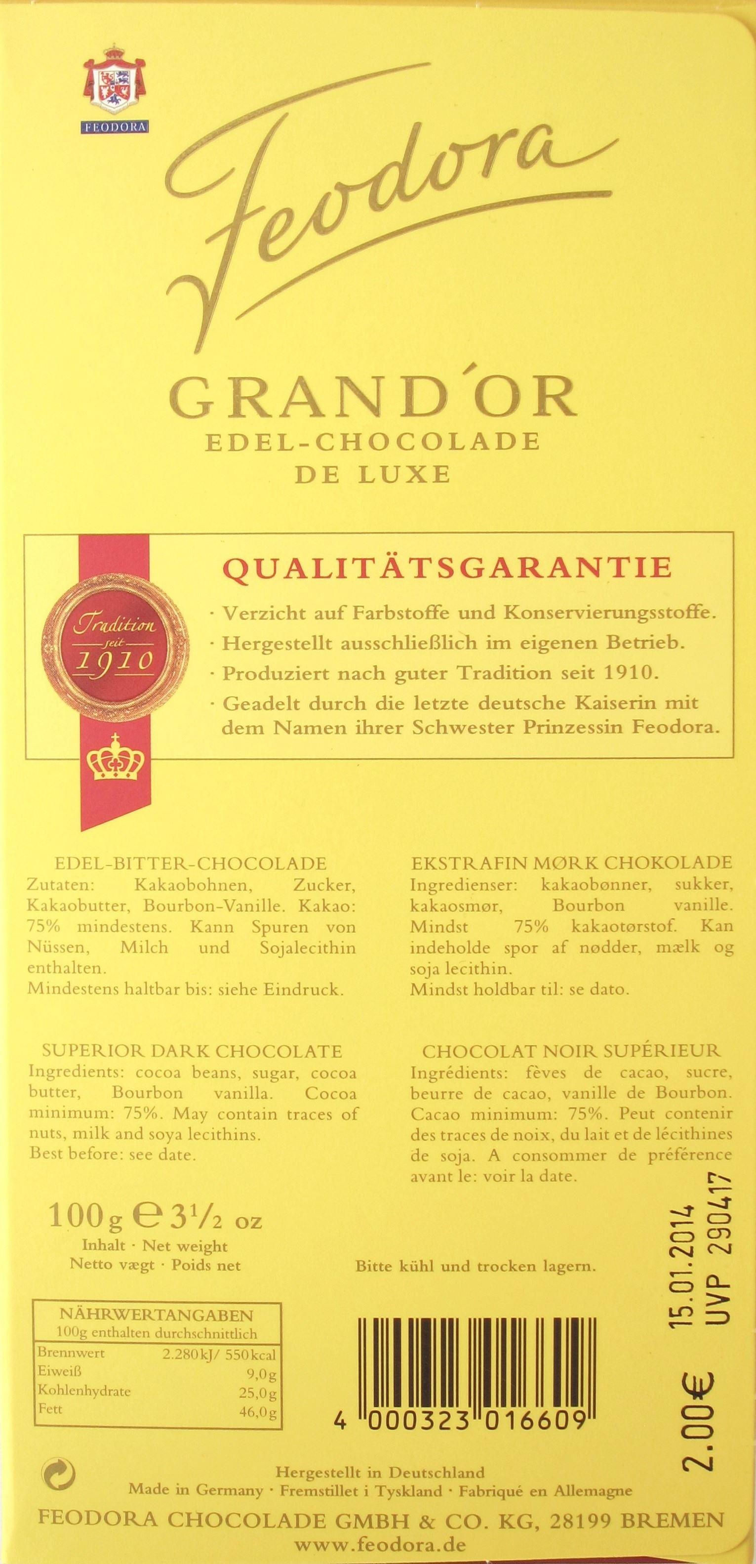 Feodora Grand'Or Milde Edel-Bitter Edel-Chocolade - Inhaltsangaben